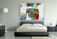 ABSTRACT PAINTING green white ORIGINAL by MirnaSisul on Etsy