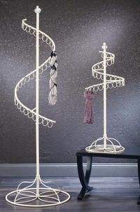Cream Scarf Spinner Displays  (Our new Cream Floor and Tabletop Scarf Spinners are the perfect way to show off your scarf collection! The circular swivel design offers a small footprint and still displays many scarfs. Each ring can easily accommodate more than one scarf.)