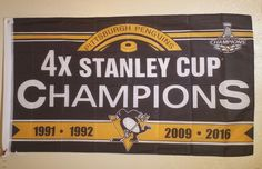 NHL Pittsburgh Penguins 4X Stanley Cup Champions Banner Flag 3x5 FREE SHIPPING #PittsburghPenguins