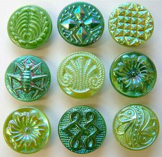 9 Vintage Green Glass Buttons With Lustre, Assorted Designs