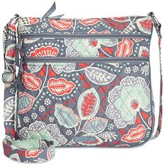Vera Bradley Triple Zip Hipster Crossbody ($58) ❤ liked on Polyvore featuring bags, handbags, shoulder bags, nomadic floral, zipper purse, vera bradley shoulder bag, vera bradley purses, pocket purse and crossbody purse