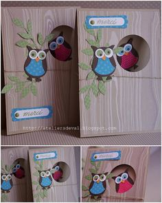 Hiboux#Repin By:Pinterest++ for iPad# Dyi Crafts, Paper Crafts, Owl Punch Cards, Owl Card, Envelope Design, Paper Envelopes, Punch Art, Stamping Up, Diy Cards
