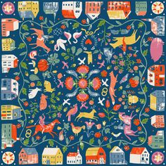 Folk Art cushion | Artist: Harriet Taylor Seed