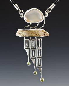 Necklace Nova: sterling silver, flint, gemstone, peridot, steel, leather /Algirdas Morkunas / 2012