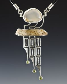 Necklace Nova: sterling silver, flint, gemstone, peridot, steel, leather /Algirdas Morkunas / 2012