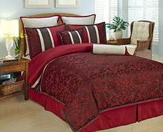 8Pcs Cal King Autumn Blossom Bedding Comforter Set ** ON SALE Check it Out