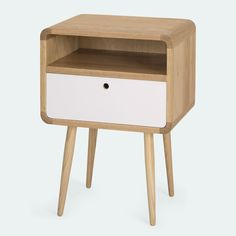 A closed drawer and an open shelf makes for the perfect bedside companion     Available in Light Oak and  Brown Kiaat Drawer options in natural and white C...