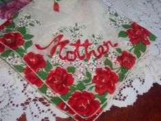 Vintage Handkerchief red roses Mother Valentine chic by raggedy10, $10.00
