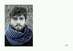 Machine knit tuck stitch men's scarf