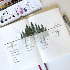 Bullet journal weekly spread Forest  #augustbulletjournal Bullet journal weekly spread forest Bujo