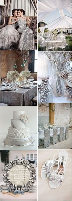 50 Silver Winter Wedding Ideas for Your Big Day - Wedding Colors Silver Winter Wedding, Winter Wedding Colors, Winter Wedding Inspiration, Winter Theme, Christmas Wedding, Winter Weddings, Winter Colors, Silver Wedding Dresses, White Silver Wedding