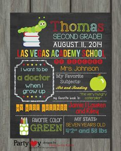 Back to School Chalkboard Poster First Day by PartyInvitesAndMore, $20.00