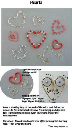 Wire Hearts made with WigJig Jewelry Making Tools, wire and jewelry supplies.