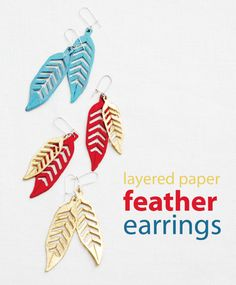crafterhours: Feather Earrings: A Tutorial - Mod Podge, paper and paint!