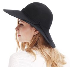 b12cb2c0fbe Women s Wide Brim Wool Ribbon Band Floppy Hat - Black - C911N7Q029P - Hats   amp . captianshat.com