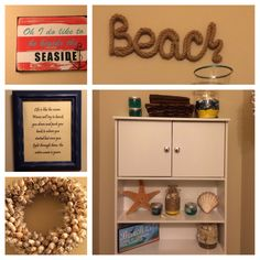 Simple and cute beach decor for a small restroom. Restroom Decoration, Home Goods, Sweet Home, Simple, Beach, Frame, Projects, Diy, Furniture