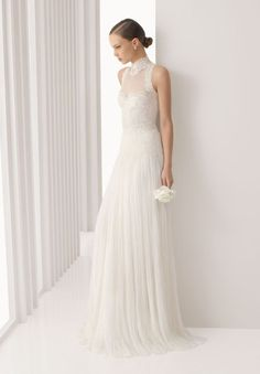Tulle and Lace High Collar A-line Floor Length Elegant Wedding Dress