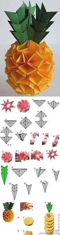 pineapple origami #origami, #DIY