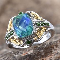Peacock Quartz and Russian Diopside Ring in 14K Yellow Gold and Platinum Overlay Sterling Silver (Nickel Free)