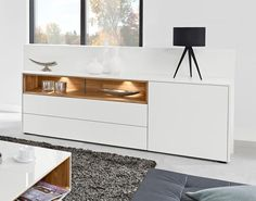Modern sideboard with 1 door and 2 drawers in matt white.  #interiordesign #contemporaryfurniture #furniture #house #interiors