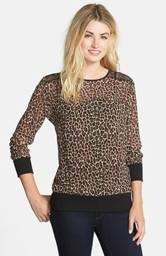 Free shipping and returns on Two by Vince Camuto Lace Trim Leopard Print Sheer Pullover at Nordstrom.com. Black lace at the shoulders creates dramatic allure for a sheer chiffon top patterned in tawny leopard spots. Rib-knit trim at the cuffs and hem keeps the look sporty.