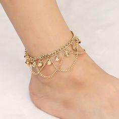 Foot Bracelet, Anklet Bracelet, Fashion Bracelets, Fashion Jewelry, Fashion Fashion, Fashion Brand, Accessories Jewellery, Beach Accessories, Ankle Jewelry