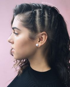 Cornrows on half of head by The Braids Factory