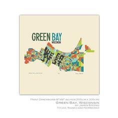 Green Bay, Wisconsin 12x12 Print by jsteeno on Etsy https://www.etsy.com/listing/264561195/green-bay-wisconsin-12x12-print