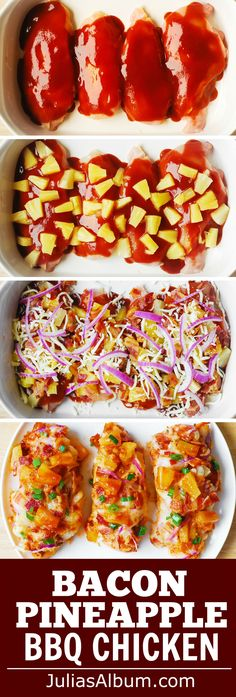 Bacon Pineapple BBQ Baked Chicken Breasts with Red Onions and Mozzarella Cheese