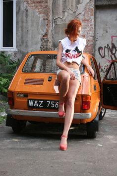 Nice girl - shame about the car! Girls With Red Hair, I Love Girls, Some Girls, Cool Girl, Fiat 126, Great Legs, Biker Girl, Car Girls, Short Tops
