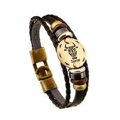 Taurus Constellation Leather Bracelet