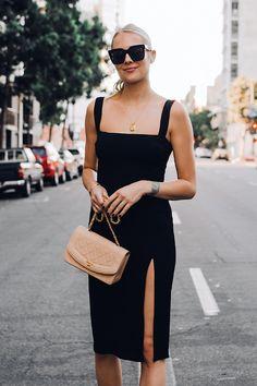 Woman Wearing Reformation Black Dress Chanel Tan Diana Handbag Gold Coin Necklace Black Celine Tilda Sunglasses Fashion Jackson San Diego Fashion Blogger Street Style