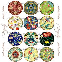 ASIAN ORNAMENT 4 Digital Collage Sheet Circles for by digitalya