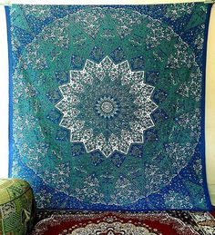 Blue Mandala Cotton Hippie Tapestry Blue Psychedelic Star Wall Hanging Throw Boho Bedding Bedspread Ethnic Wall Decor