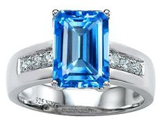 Original Star K(tm) Classic Octagon Emerald Cut 9x7 Engagement Ring With Genuine Blue Topaz - blue, Classic, Emerald, Engagement, Genuine, Octagon, ORIGINAL, Ring, Star, Topaz