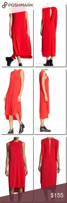 """DKNY Sleeveless Midi Dress DKNY midi dress in jersey knit. Approx. length: 42.5""""L from shoulder, 47""""L down back. Jewel neckline; plunging keyhole back. Cape sleeves. Shift silhouette. Uneven hem with 16.5""""H vent. Rayon. Dry clean. DKNY Dresses Midi"""