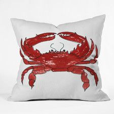 Red Crab by Laura Trevey Throw Pillow