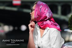 French silk scarves by ANNE TOURAINE Paris™: bright fuchsia scarf tied as a romantic head scarf a la Grace Kelly