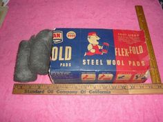 Vintage American Steel Wool Flex - Fold Pads Box With 2 Pads See Pic