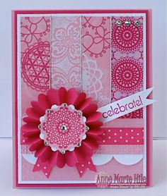 lovely handmade card from Stampin' Anne  ... monochromatic pinks .. rosette medallion ... strips of patterned papers ... Stampin' Up!