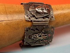 Art Deco/Egyptian Revivalist Bracelet ? Pharaoh, Scarab, Crescent Moon ? Wide Pierced Panels