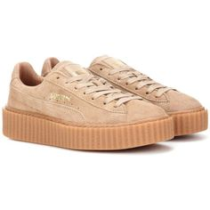 FENTY by Rihanna Creeper Suede Sneakers (€140) ❤ liked on Polyvore featuring shoes, sneakers, beige, creeper shoes, suede trainers, beige shoes, creeper sneakers and suede leather shoes