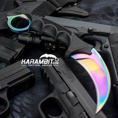 Titanium Rainbow Honshu Karambit w/Shoulder Harness - Karambit.com