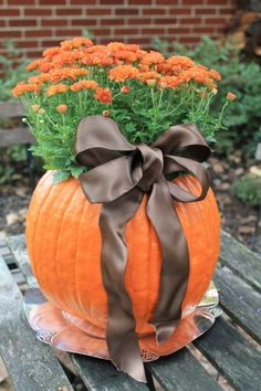 Purchase a large pumpkin, clean out the inside. Spray with a little bleach from mold growing. Place potted mum inside!!