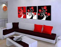 Multi Canvas Painting, Diy Canvas Art, Abstract Canvas, Canvas Art Prints, Kids Wall Decor, Modern Wall Decor, Art Painting Tools, Red Wall Art, Black And White Wallpaper