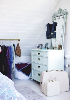 bedroom corner, for sure (leave out the suitcases. make it a backpack! Dresser With Mirror, Dresser As Nightstand, Clothes Rod, Bedroom Corner, A Frame House, Cabin Design, Cottage Living, Painting Cabinets, New Room