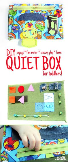 This DIY sensory board is so DOABLE and easy to make! You don't need tools or special equipment and it is full of toddler activities to develop fine motor skills, sensory play, and to teach colors, shapes, alphabet, and more!