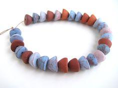 Jewellry Supplies Terracotta Beads - cone beads, boho jewellry making hand craft, blue ceramic beads, supplies shop, DIY jewellry, 12mm bead by NadiaTerra on Etsy
