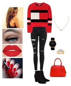 """Tommy Hilfiger Red Withe and Black"" by dorsaf-malinsky ❤ liked on Polyvore featuring Topshop, Tommy Hilfiger, Billini, Smashbox, H&M, Cartier, Larsson & Jennings and Annello"