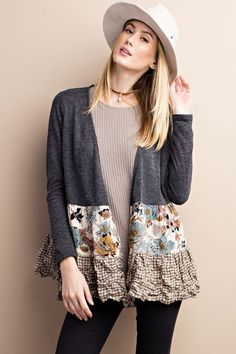 Ruffled Mix + Match Cardigan - Charcoal
